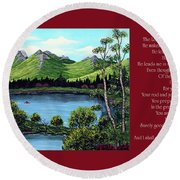 Twin Ponds And 23 Psalm On Red Horizontal  Round Beach Towel