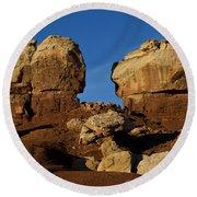 Twin Rocks Capitol Reef National Park Utah Round Beach Towel