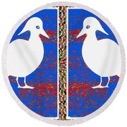 Twin Souls Love Birds Snow White Color Round Beach Towel