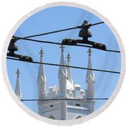 Twin Spires And Trolley Lines Round Beach Towel