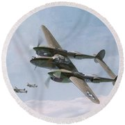 Twin-tailed Dragons Round Beach Towel