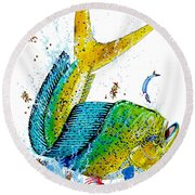 Twisted Mahi Round Beach Towel