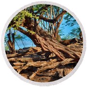 Twisting Trees Round Beach Towel
