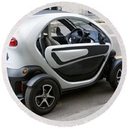 Twizy Rental Electric Car Side And Back Milan Italy Round Beach Towel