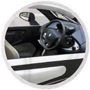 Twizy Rental Electric Car Side And Interior Milan Italy Round Beach Towel