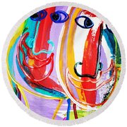 Two Abstract Faces Round Beach Towel