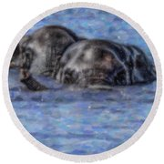 Two African Elephants Swimming In The Chobe River Round Beach Towel