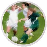 Two Against One Expressionist Soccer Battle  Round Beach Towel