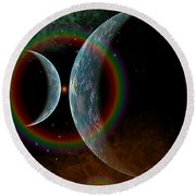 Two Alien Planets In A Distant Part Round Beach Towel