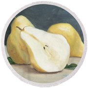 Two And A Half Pears Round Beach Towel
