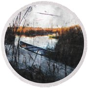 Two At The Dock Round Beach Towel