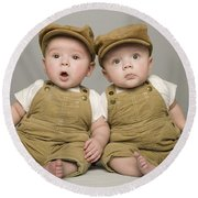 Two Babies In Matching Hat And Overalls Round Beach Towel