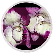 Two Baby Orchids Round Beach Towel