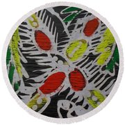 Two Beautiful Painted Palm Tree With Keg. Round Beach Towel