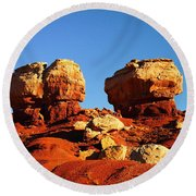 Two Big Rocks At Capital Reef Round Beach Towel by Jeff Swan