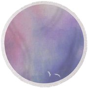 Two Birds Flying In Ravine. Round Beach Towel