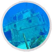 Two Blue Tang On A Ship Wreak Round Beach Towel