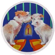 Two Border Terriers Together Round Beach Towel