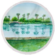 Two Bridges At Rainbow Lagoon Round Beach Towel