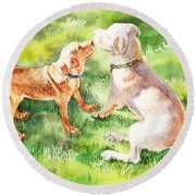 Two Brothers Labradors Round Beach Towel