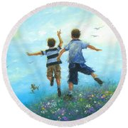 Two Brothers Leaping Round Beach Towel