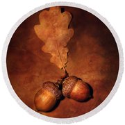 Two Brown Acorns Round Beach Towel