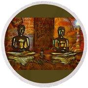 Two Buddhas Round Beach Towel