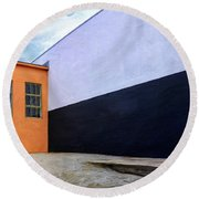 Two Buildings Round Beach Towel