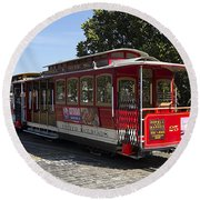 Two Cable Cars San Francisco Round Beach Towel