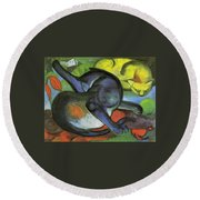 Two Cats Blue And Yellow 1912 Round Beach Towel