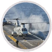 Two Ch-46e Sea Knight Helicopters Round Beach Towel