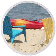 Two Chairs And A Boat Round Beach Towel