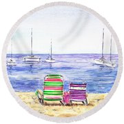 Two Chairs On The Beach Round Beach Towel