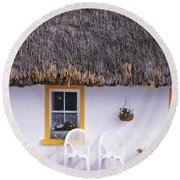 Two Chairs Outside A Cottage, County Round Beach Towel
