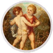 Two Cherubs Round Beach Towel