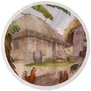 Two Chickens Two Pigs And Huts Jamaica Round Beach Towel