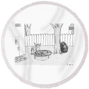 Two Children Excitedly Look At A Web Disguised Round Beach Towel by Zachary Kanin