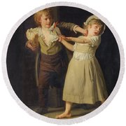 Two Children Fighting Over A Piece Of Bread Round Beach Towel