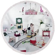 Two Children Playing With Vintage Toys Round Beach Towel