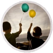Two Children With Balloons Round Beach Towel