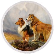 Two Collies Above A Lake Round Beach Towel