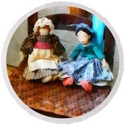 Two Colonial Rag Dolls Round Beach Towel