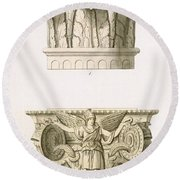 Two Column Capitals Round Beach Towel