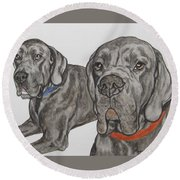 Two Cool Danes Round Beach Towel