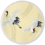 Two Cranes Round Beach Towel