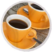 Two Cups Of Espresso Round Beach Towel