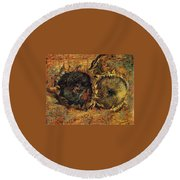 Two Cutted Sunflowers Round Beach Towel