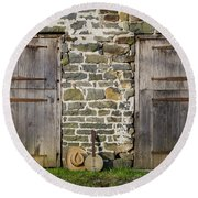 Two Doors On A Barn Round Beach Towel