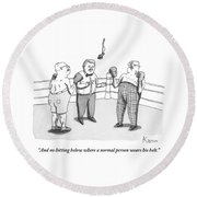 Two Elderly Men Meet In A Boxing Ring Round Beach Towel by Zachary Kanin