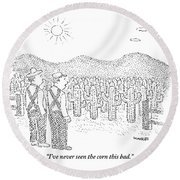 Two Farmers Stand By A Tractor Round Beach Towel